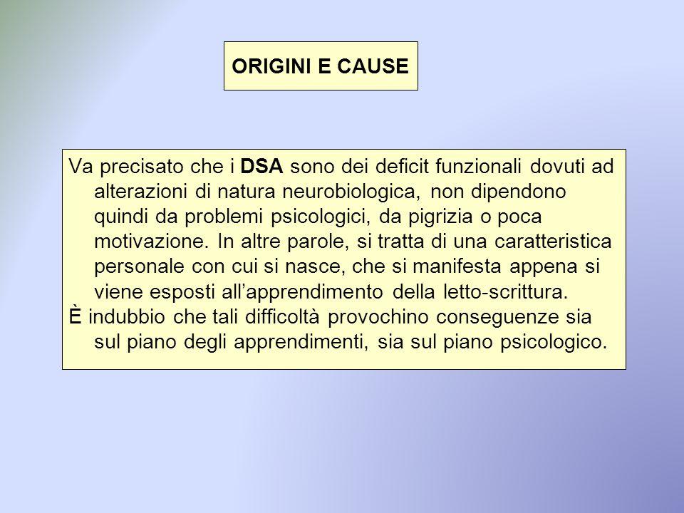 ORIGINI E CAUSE Va precisato che i DSA sono dei deficit funzionali dovuti ad alterazioni di natura neurobiologica, non dipendono quindi da problemi ps