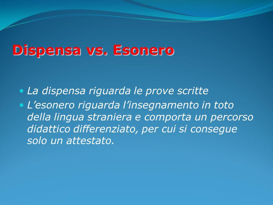 Dispensa vs. Esonero La dispensa riguarda le prove scritte L'esonero riguarda l'insegnamento in toto della lingua straniera e comporta un percorso did