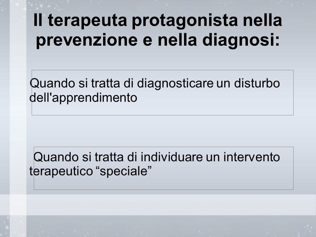 Il terapeuta protagonista nella prevenzione e nella diagnosi: Quando si tratta di diagnosticare un disturbo dell'apprendimento Quando si tratta di ind
