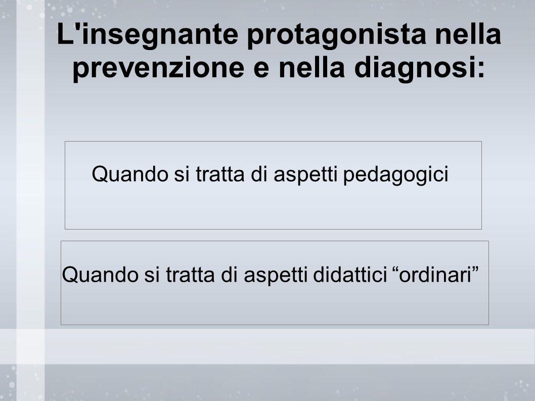 """L'insegnante protagonista nella prevenzione e nella diagnosi: Quando si tratta di aspetti pedagogici Quando si tratta di aspetti didattici """"ordinari"""""""
