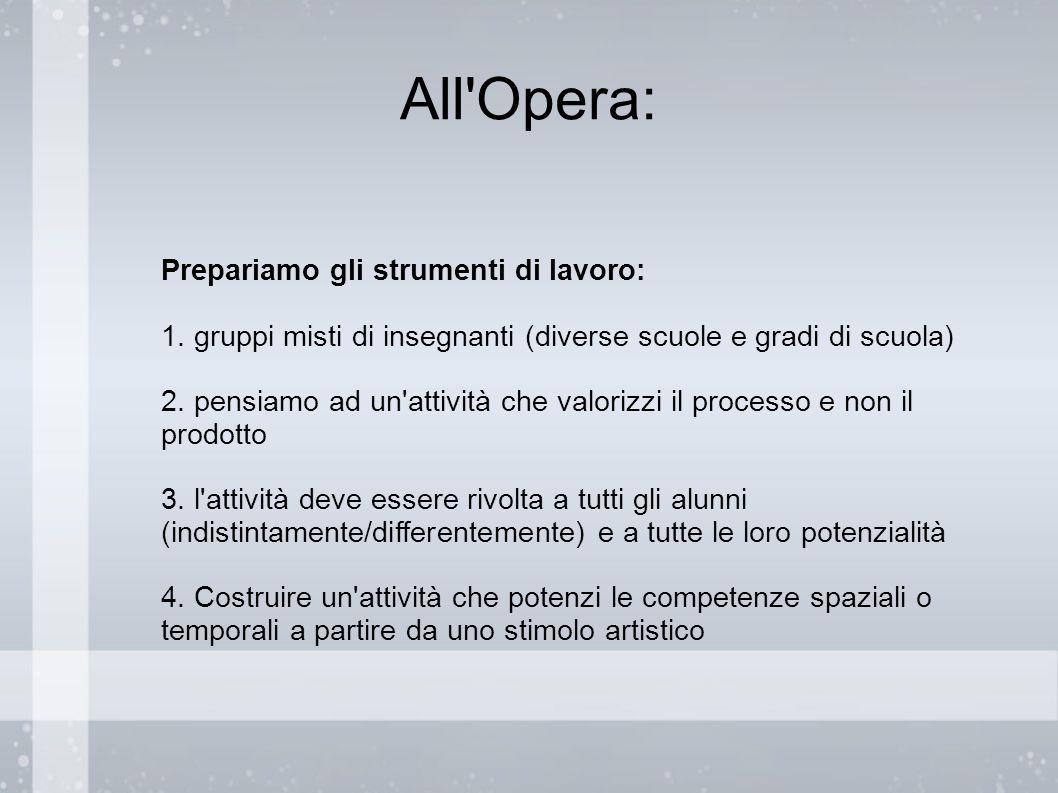 All'Opera: Prepariamo gli strumenti di lavoro: 1. gruppi misti di insegnanti (diverse scuole e gradi di scuola) 2. pensiamo ad un'attività che valoriz