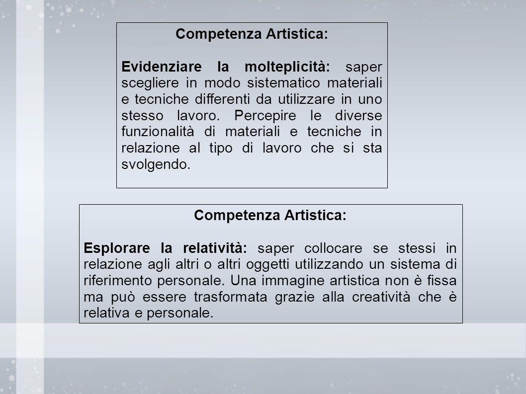 Competenza Artistica: Evidenziare la molteplicità: saper scegliere in modo sistematico materiali e tecniche differenti da utilizzare in uno stesso lav