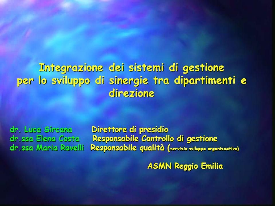 Integrazione dei sistemi di gestione per lo sviluppo di sinergie tra dipartimenti e direzione dr. Luca Sircana Direttore di presidio dr.ssa Elena Cost