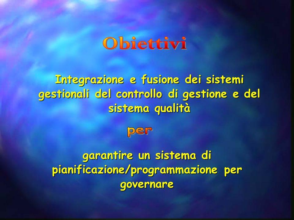Integrazione e fusione dei sistemi gestionali del controllo di gestione e del sistema qualità garantire un sistema di pianificazione/programmazione pe
