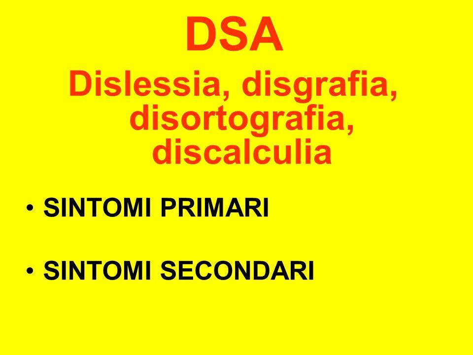 DSA Dislessia, disgrafia, disortografia, discalculia SINTOMI PRIMARI SINTOMI SECONDARI