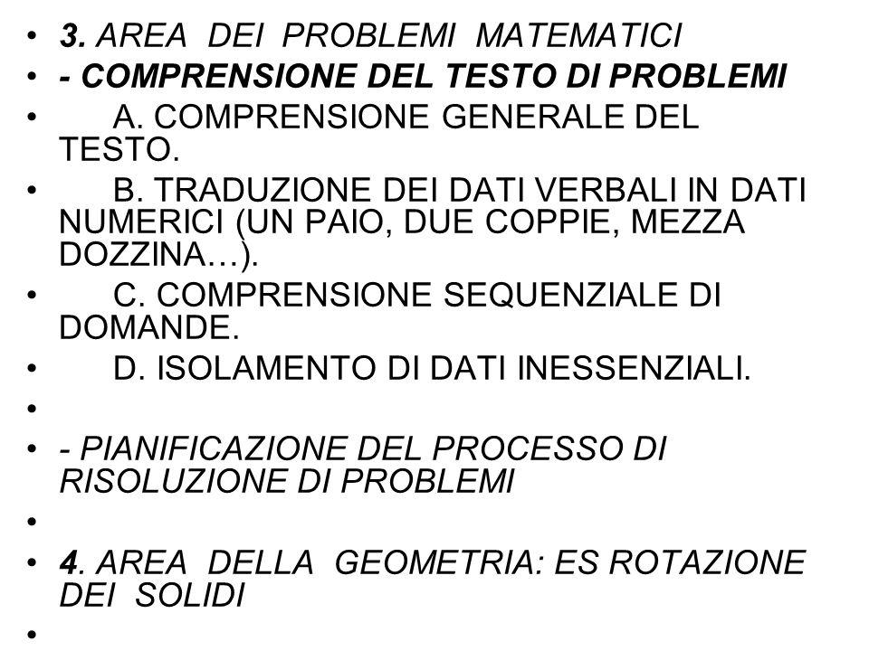 3. AREA DEI PROBLEMI MATEMATICI - COMPRENSIONE DEL TESTO DI PROBLEMI A. COMPRENSIONE GENERALE DEL TESTO. B. TRADUZIONE DEI DATI VERBALI IN DATI NUMERI