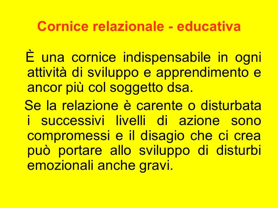Cornice relazionale - educativa È una cornice indispensabile in ogni attività di sviluppo e apprendimento e ancor più col soggetto dsa. Se la relazion