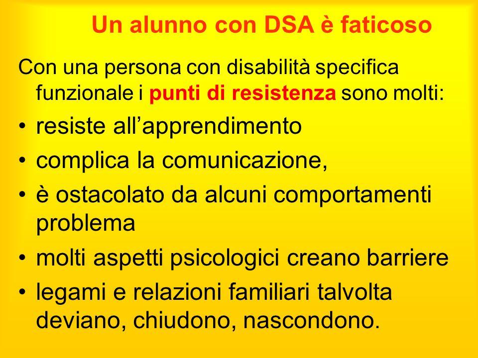 Un alunno con DSA è faticoso Con una persona con disabilità specifica funzionale i punti di resistenza sono molti: resiste all'apprendimento complica