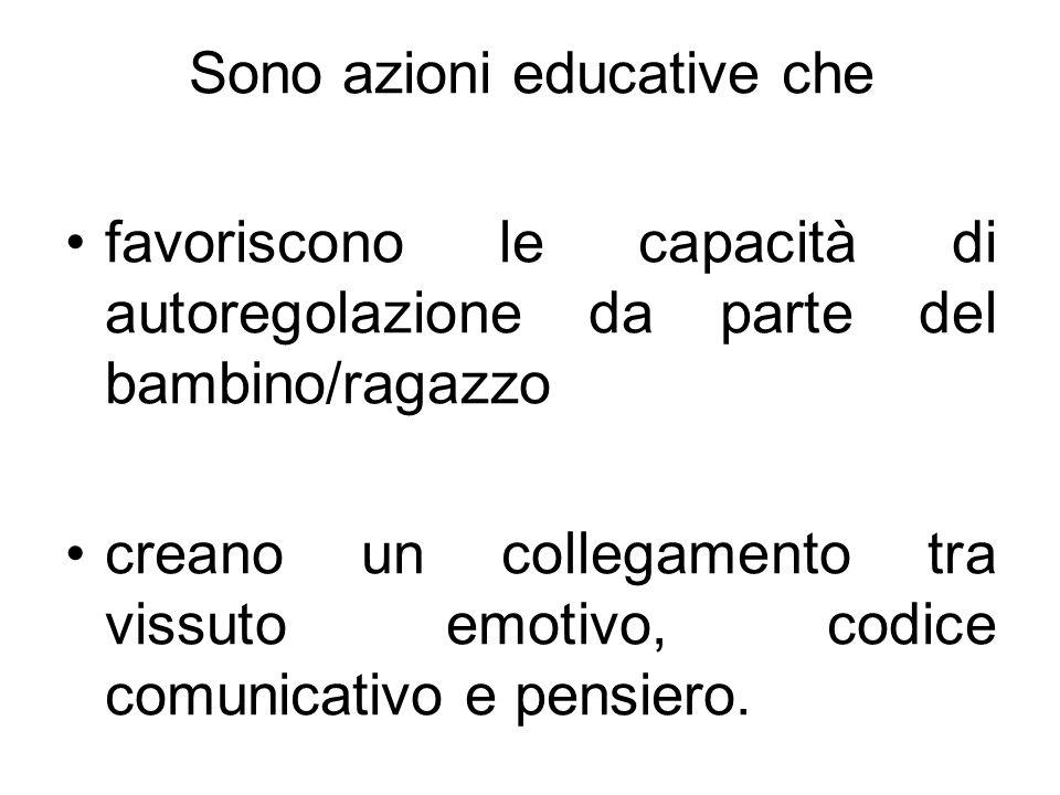 Sono azioni educative che favoriscono le capacità di autoregolazione da parte del bambino/ragazzo creano un collegamento tra vissuto emotivo, codice c