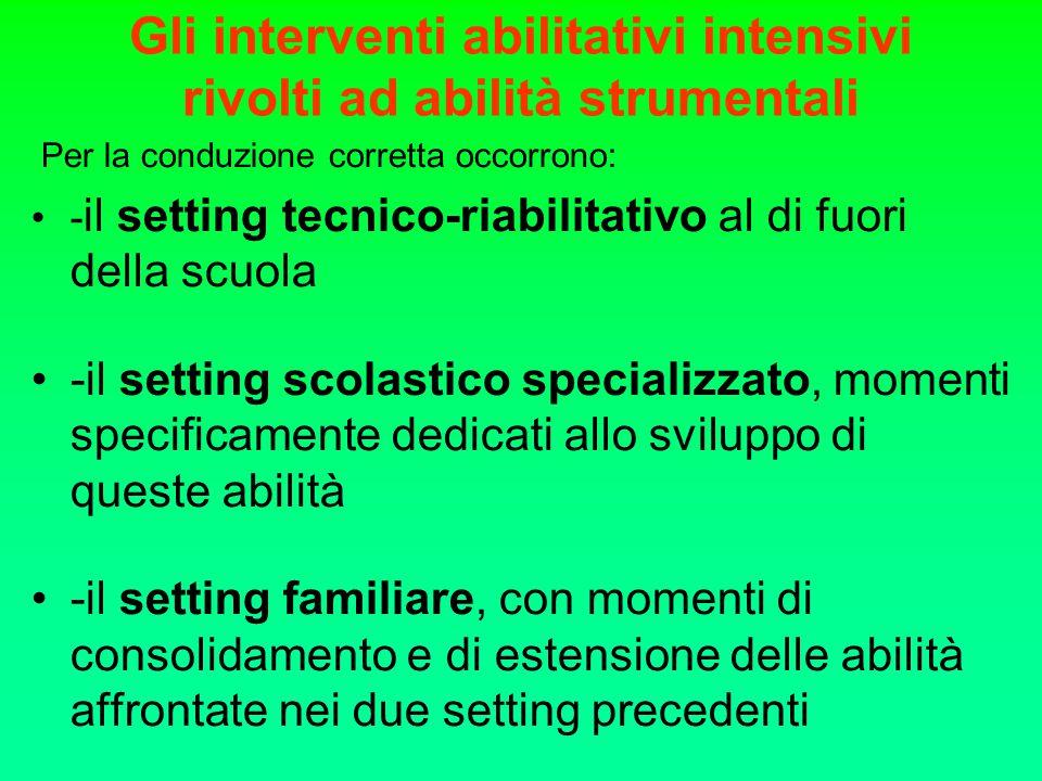 Gli interventi abilitativi intensivi rivolti ad abilità strumentali Per la conduzione corretta occorrono: - il setting tecnico-riabilitativo al di fuo