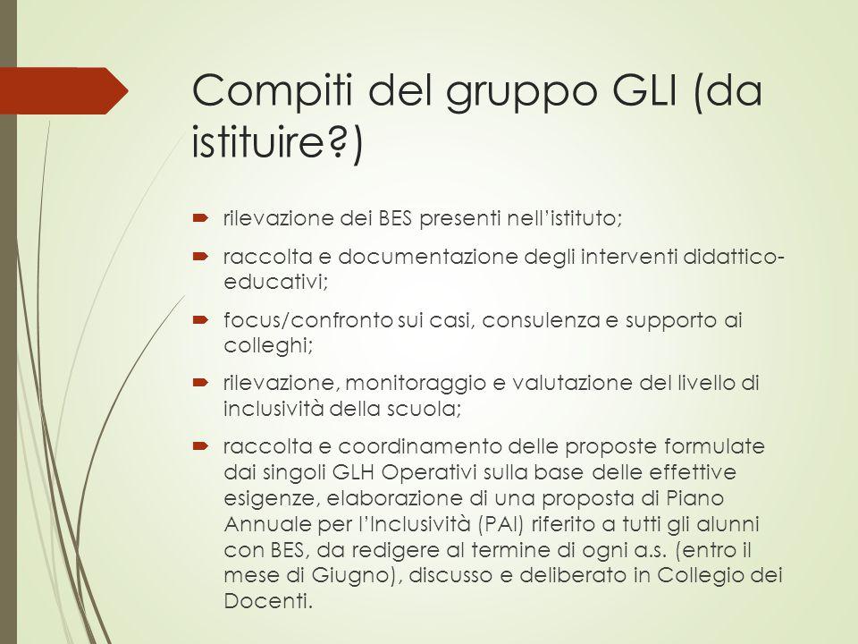 Compiti del gruppo GLI (da istituire?)  rilevazione dei BES presenti nell'istituto;  raccolta e documentazione degli interventi didattico- educativi