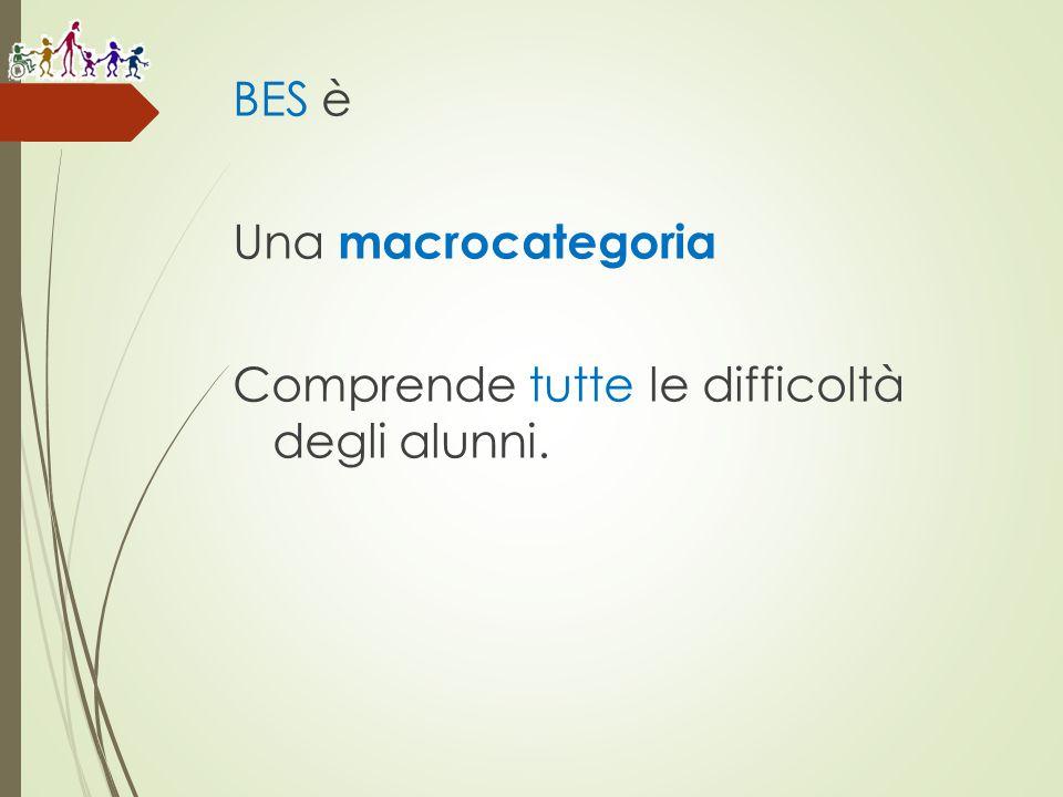 BES è Una macrocategoria Comprende tutte le difficoltà degli alunni.
