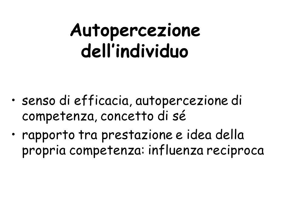 Autopercezione dell'individuo senso di efficacia, autopercezione di competenza, concetto di sé rapporto tra prestazione e idea della propria competenz