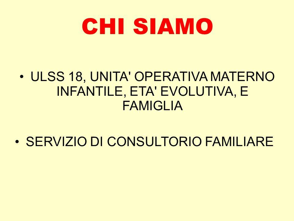 CHI SIAMO ULSS 18, UNITA' OPERATIVA MATERNO INFANTILE, ETA' EVOLUTIVA, E FAMIGLIA SERVIZIO DI CONSULTORIO FAMILIARE