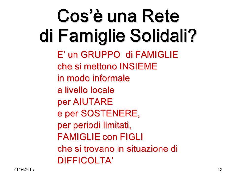1201/04/2015 Cos'è una Rete di Famiglie Solidali? E' un GRUPPO di FAMIGLIE che si mettono INSIEME in modo informale a livello locale per AIUTARE e per