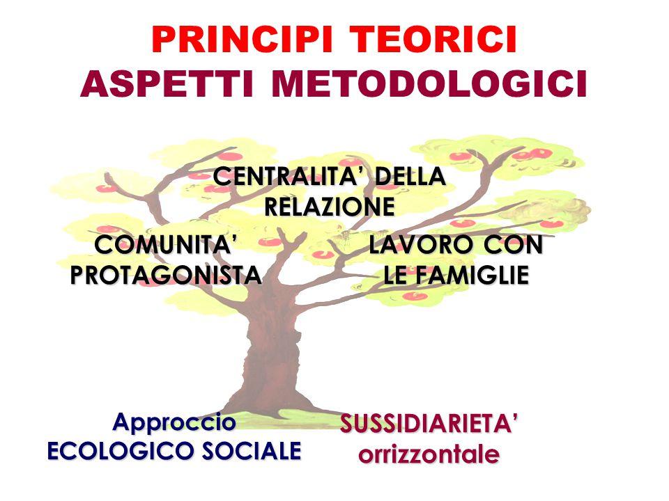 PRINCIPI TEORICI ASPETTI METODOLOGICI Approccio ECOLOGICO SOCIALE SUSSIDIARIETA'orrizzontale COMUNITA'PROTAGONISTA CENTRALITA' DELLA RELAZIONE LAVORO