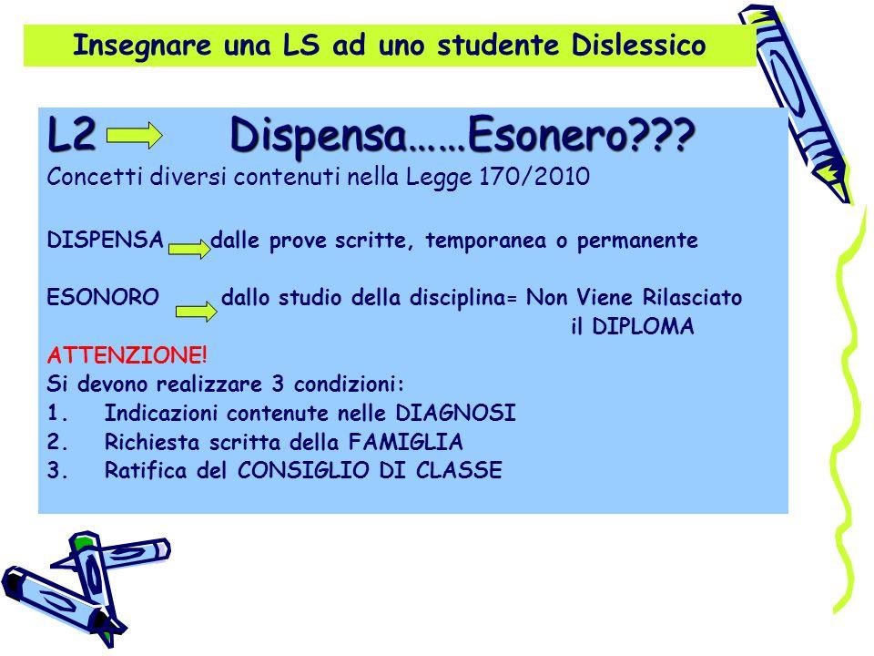 Insegnare una LS ad uno studente Dislessico L2 Dispensa……Esonero??? Concetti diversi contenuti nella Legge 170/2010 DISPENSA dalle prove scritte, temp
