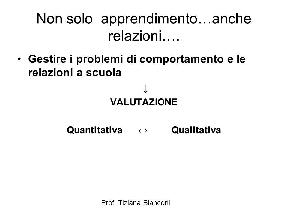 Prof. Tiziana Bianconi Non solo apprendimento…anche relazioni….