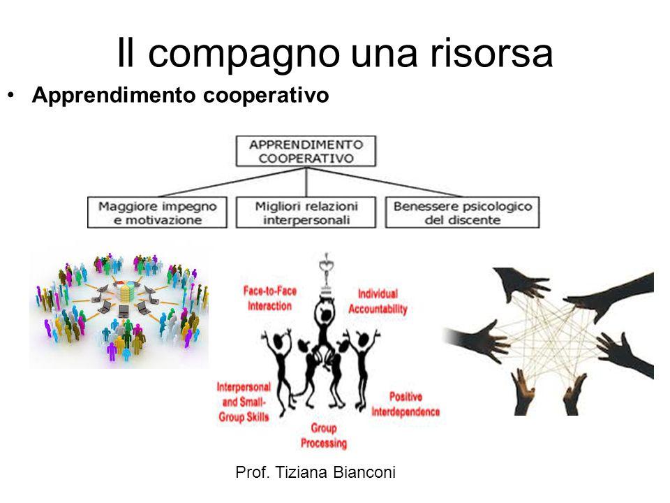 Prof. Tiziana Bianconi Il compagno una risorsa Apprendimento cooperativo
