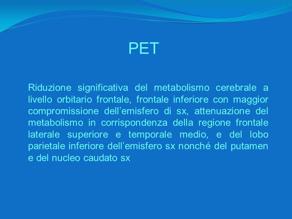 PET Riduzione significativa del metabolismo cerebrale a livello orbitario frontale, frontale inferiore con maggior compromissione dell'emisfero di sx, attenuazione del metabolismo in corrispondenza della regione frontale laterale superiore e temporale medio, e del lobo parietale inferiore dell'emisfero sx nonché del putamen e del nucleo caudato sx