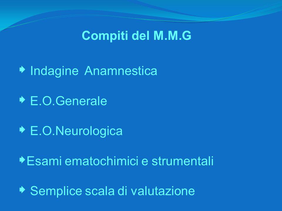 Compiti del M.M.G  Indagine Anamnestica  E.O.Generale  E.O.Neurologica  Esami ematochimici e strumentali  Semplice scala di valutazione