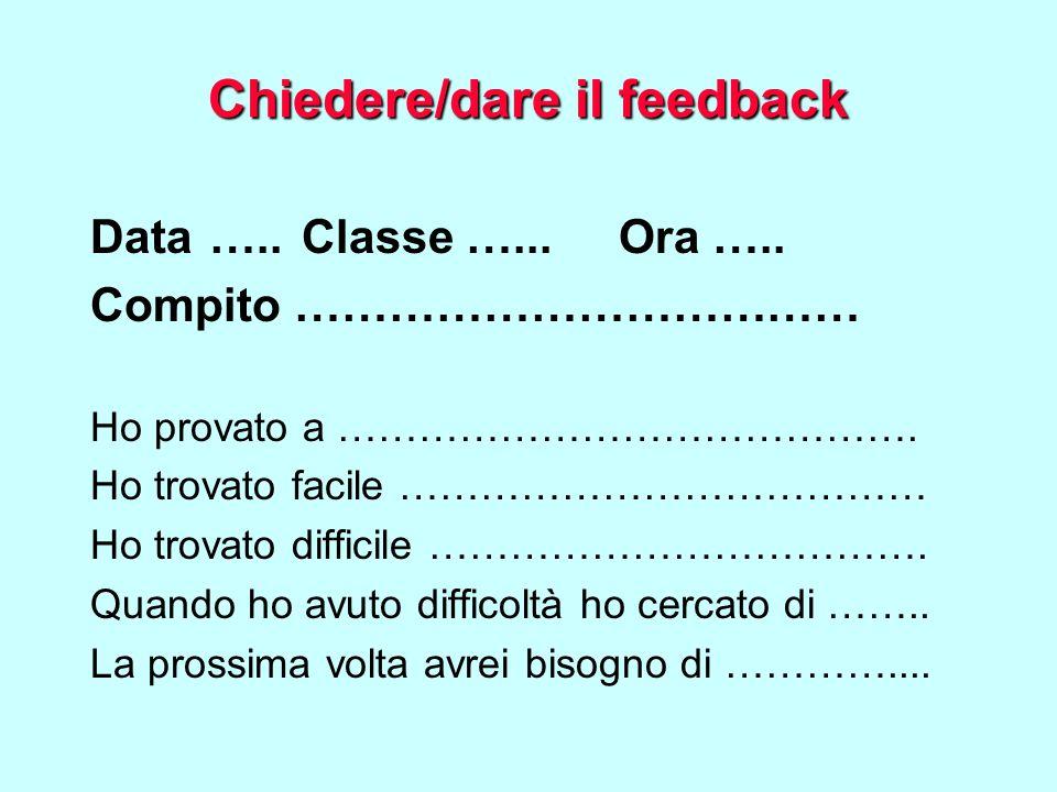Chiedere/dare il feedback Data …..Classe …...Ora ….. Compito ……………………………… Ho provato a ……………………………………. Ho trovato facile ………………………………… Ho trovato diff
