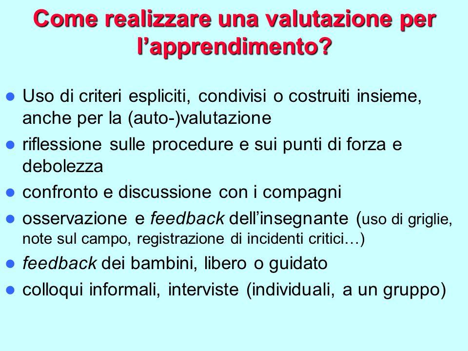 Come realizzare una valutazione per l'apprendimento? Uso di criteri espliciti, condivisi o costruiti insieme, anche per la (auto-)valutazione riflessi