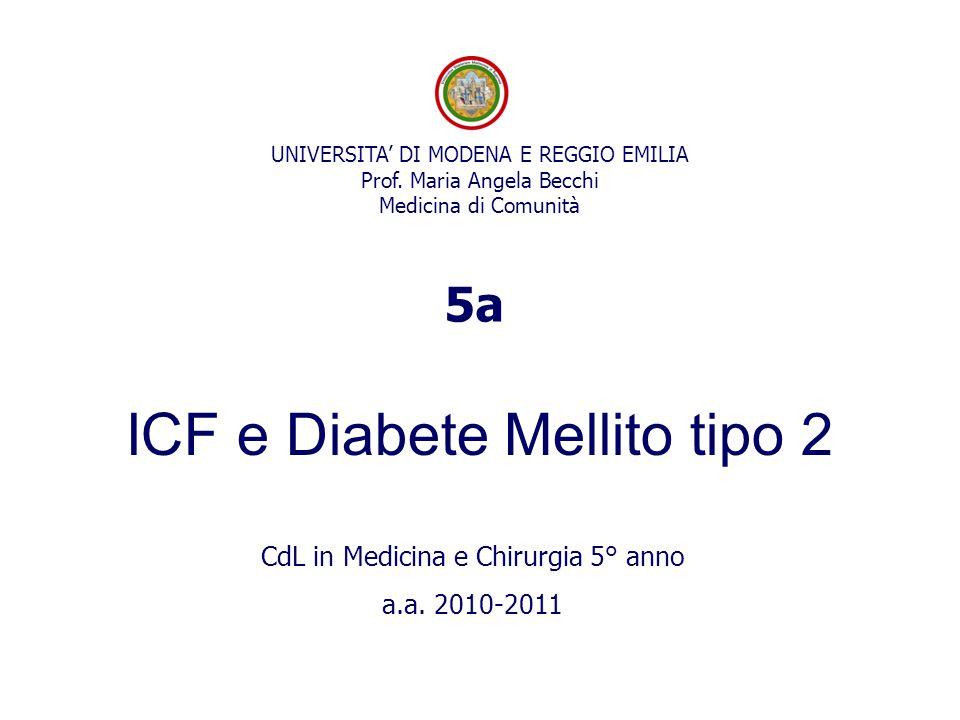 UNIVERSITA' DI MODENA E REGGIO EMILIA Prof. Maria Angela Becchi Medicina di Comunità ICF e Diabete Mellito tipo 2 CdL in Medicina e Chirurgia 5° anno