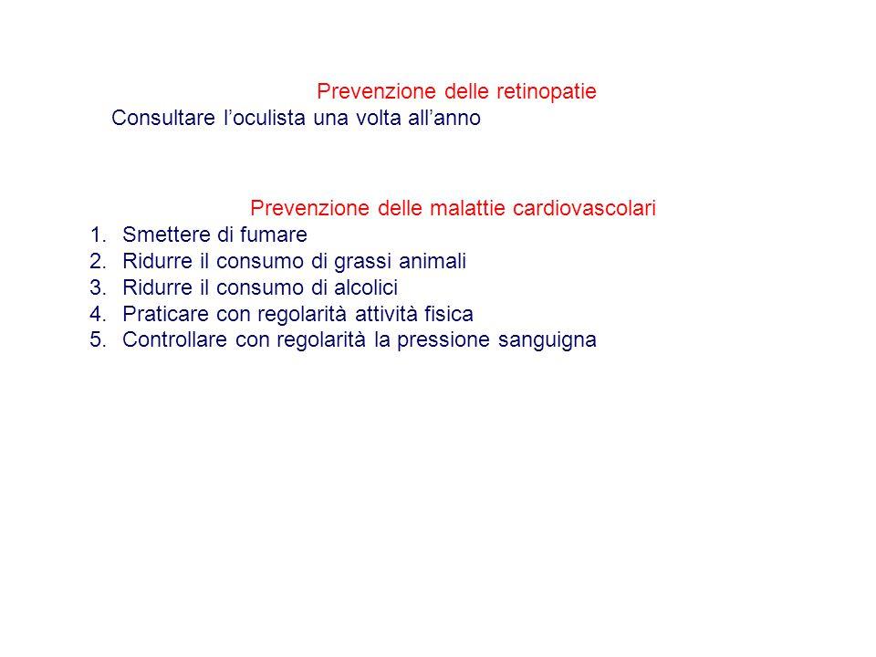 Prevenzione delle retinopatie Consultare l'oculista una volta all'anno Prevenzione delle malattie cardiovascolari 1.Smettere di fumare 2.Ridurre il co