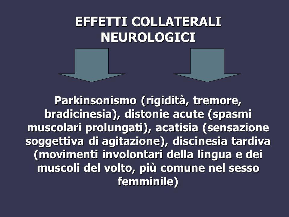 Parkinsonismo (rigidità, tremore, bradicinesia), distonie acute (spasmi muscolari prolungati), acatisia (sensazione soggettiva di agitazione), discine