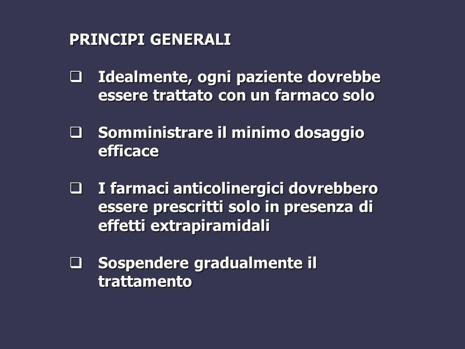 PRINCIPI GENERALI  Idealmente, ogni paziente dovrebbe essere trattato con un farmaco solo  Somministrare il minimo dosaggio efficace  I farmaci ant