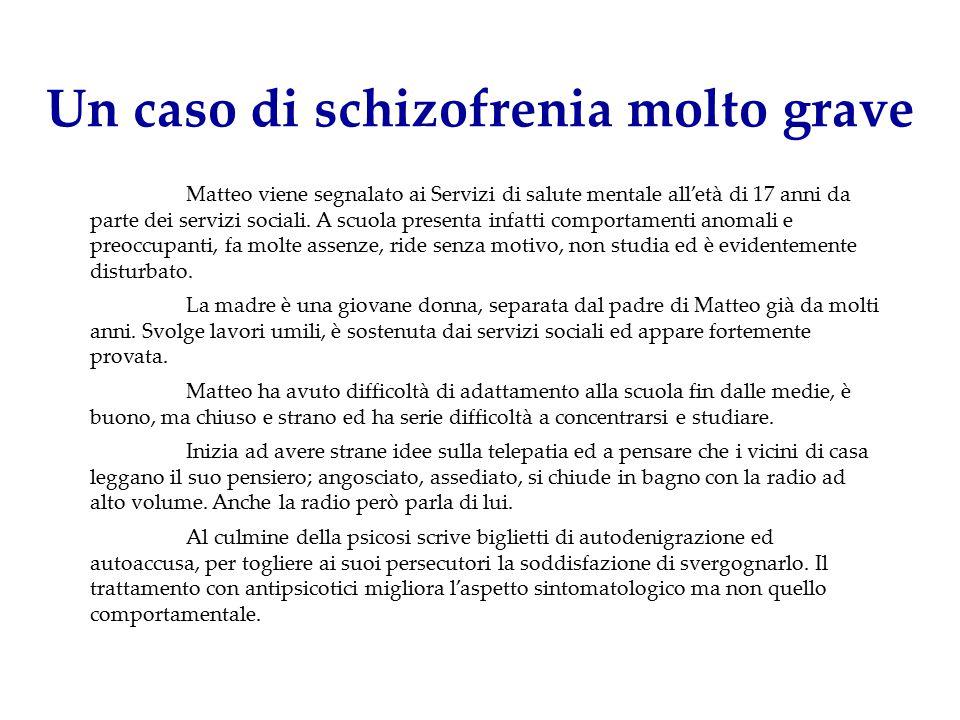 Un caso di schizofrenia molto grave Matteo viene segnalato ai Servizi di salute mentale all'età di 17 anni da parte dei servizi sociali. A scuola pres