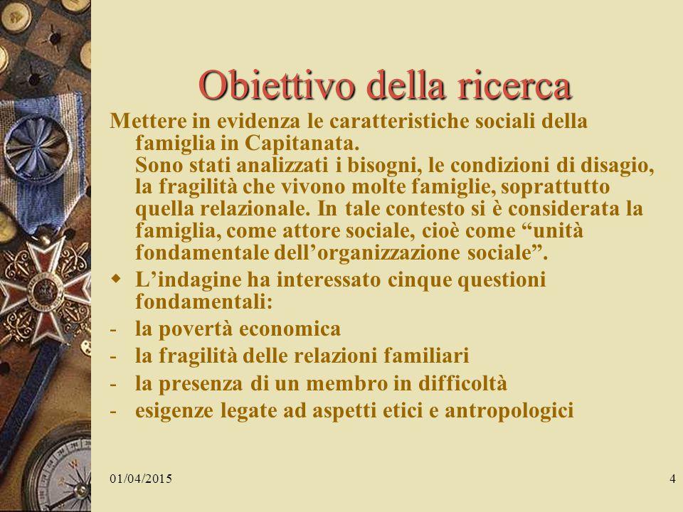 01/04/20154 Obiettivo della ricerca Mettere in evidenza le caratteristiche sociali della famiglia in Capitanata.