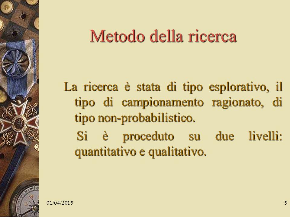 01/04/20155 Metodo della ricerca La ricerca è stata di tipo esplorativo, il tipo di campionamento ragionato, di tipo non-probabilistico.