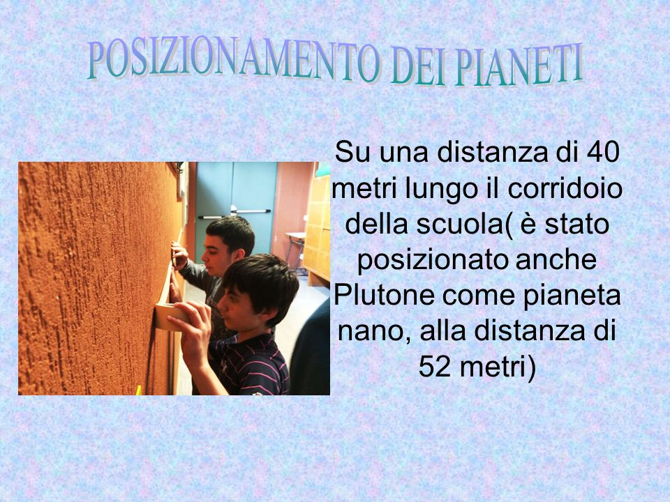 Su una distanza di 40 metri lungo il corridoio della scuola( è stato posizionato anche Plutone come pianeta nano, alla distanza di 52 metri)