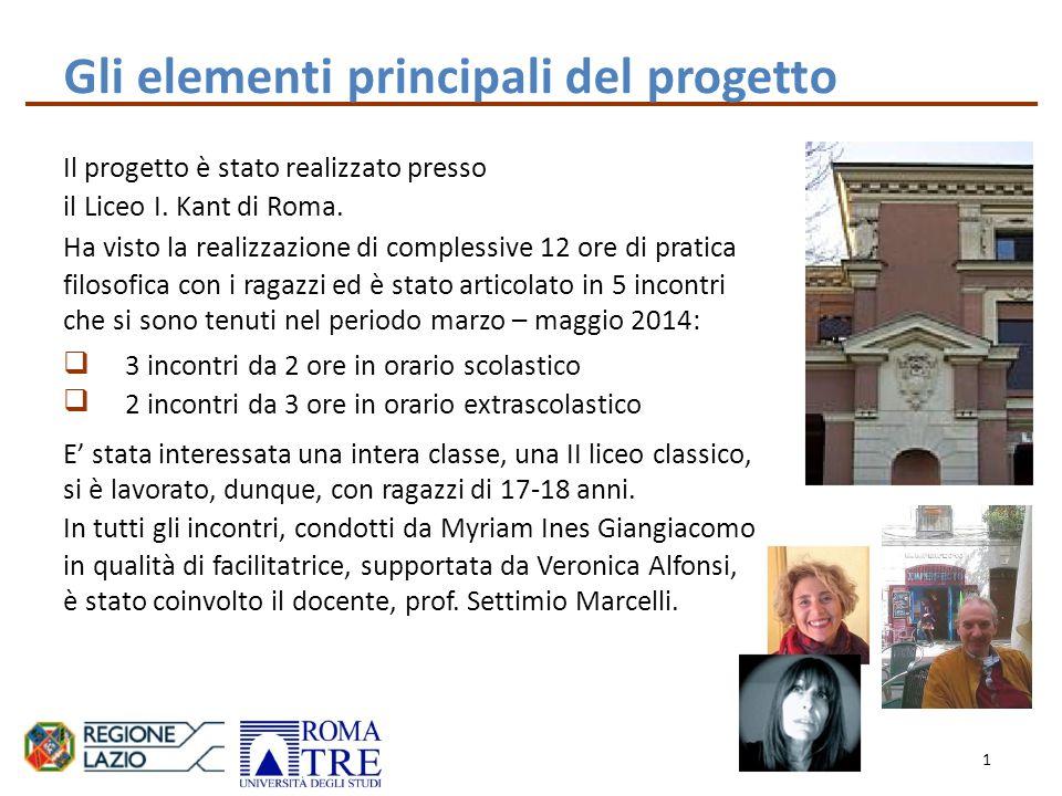 Gli elementi principali del progetto Il progetto è stato realizzato presso il Liceo I.