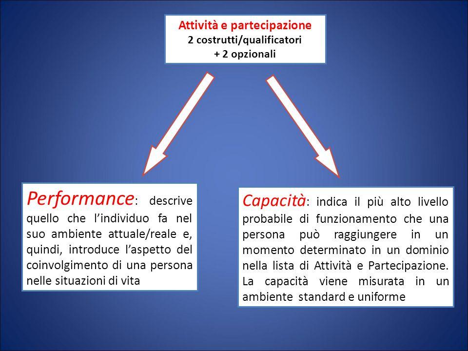 Attività e partecipazione 2 costrutti/qualificatori + 2 opzionali Performance : descrive quello che l'individuo fa nel suo ambiente attuale/reale e, q