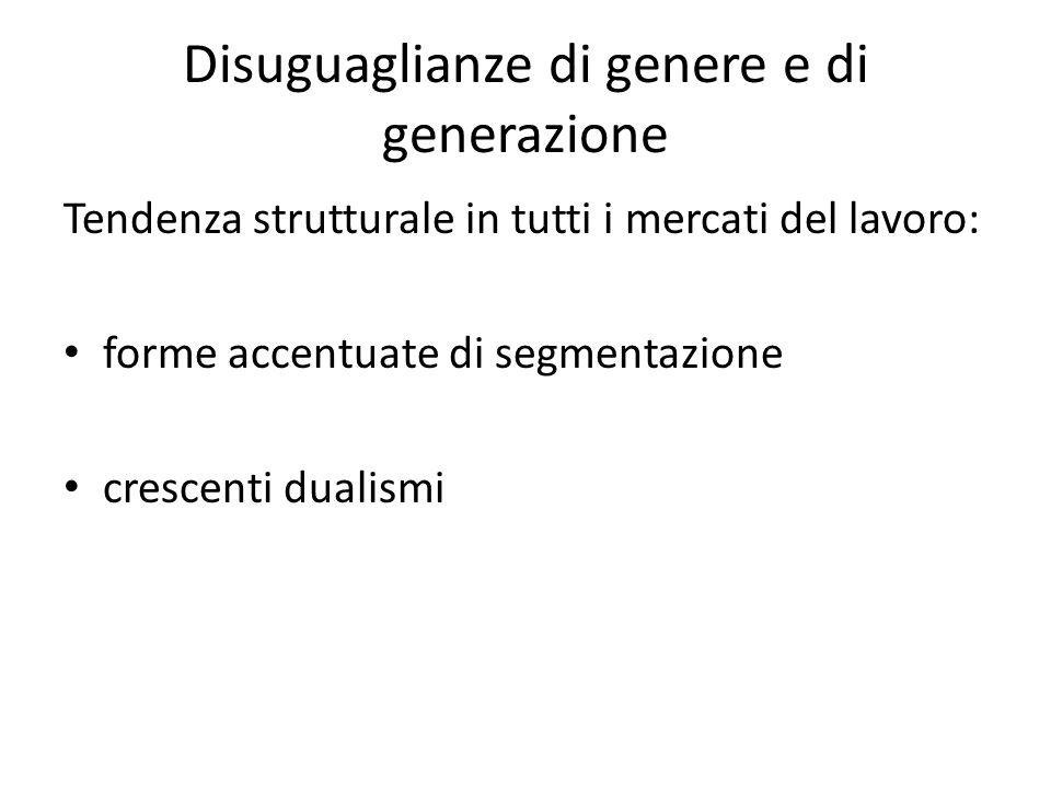 Disuguaglianze di genere e di generazione Tendenza strutturale in tutti i mercati del lavoro: forme accentuate di segmentazione crescenti dualismi