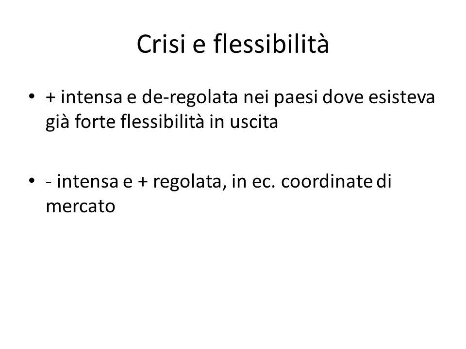 Crisi e flessibilità + intensa e de-regolata nei paesi dove esisteva già forte flessibilità in uscita - intensa e + regolata, in ec.
