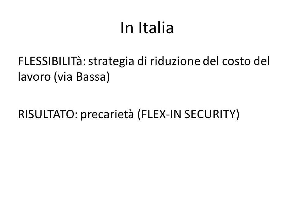 In Italia FLESSIBILITà: strategia di riduzione del costo del lavoro (via Bassa) RISULTATO: precarietà (FLEX-IN SECURITY)