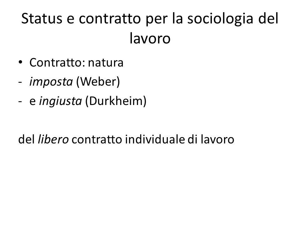 Status e contratto per la sociologia del lavoro Contratto: natura -imposta (Weber) -e ingiusta (Durkheim) del libero contratto individuale di lavoro