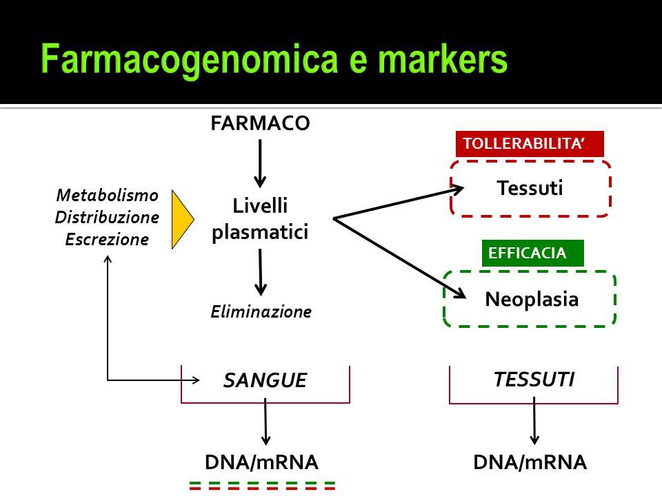 FARMACO Livelli plasmatici Neoplasia Tessuti Metabolismo Distribuzione Escrezione TOLLERABILITA' EFFICACIA Eliminazione SANGUE TESSUTI DNA/mRNA