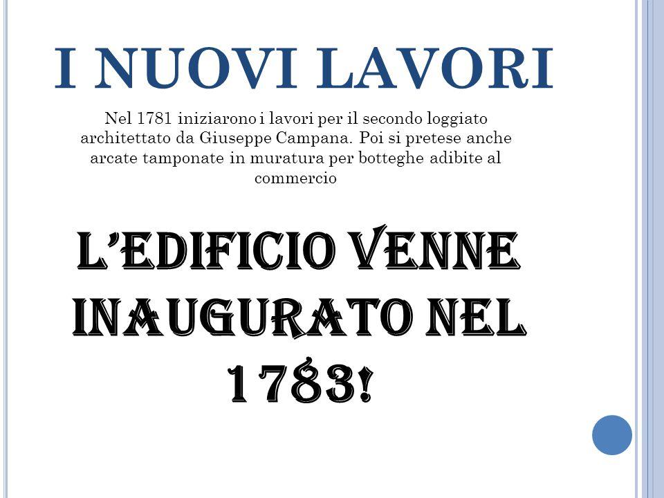 I NUOVI LAVORI Nel 1781 iniziarono i lavori per il secondo loggiato architettato da Giuseppe Campana.
