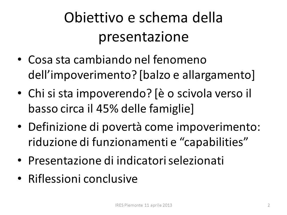 Obiettivo e schema della presentazione Cosa sta cambiando nel fenomeno dell'impoverimento.