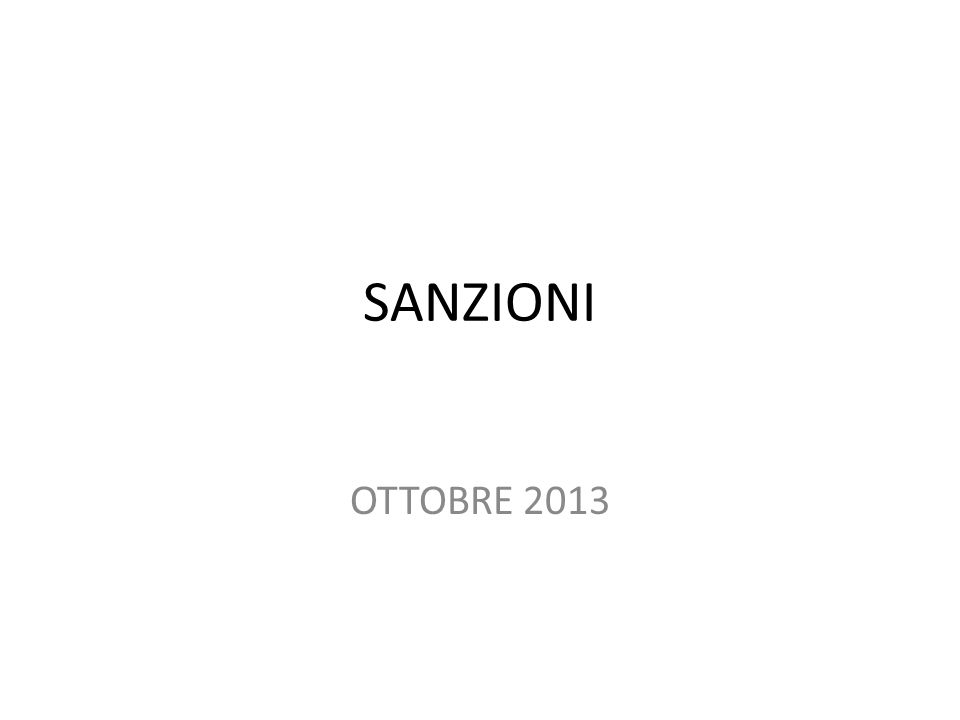 SANZIONI OTTOBRE 2013