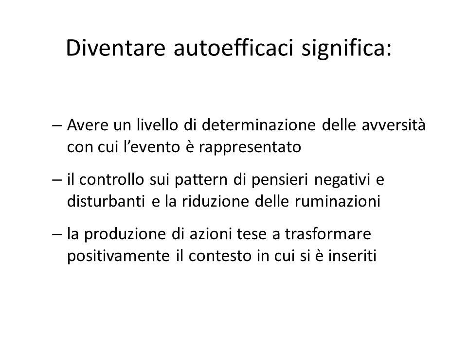 Diventare autoefficaci significa: – Avere un livello di determinazione delle avversità con cui l'evento è rappresentato – il controllo sui pattern di