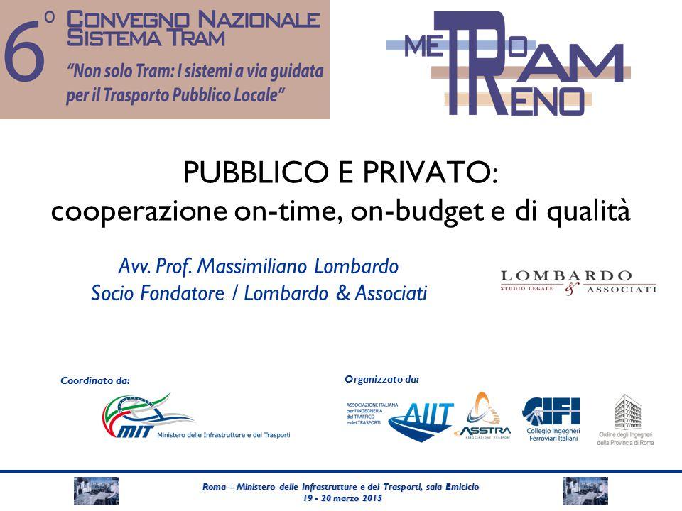 Roma – Ministero delle Infrastrutture e dei Trasporti, sala Emiciclo 19 - 20 marzo 2015 19 - 20 marzo 2015 Coordinato da: Organizzato da: PUBBLICO E PRIVATO: cooperazione on-time, on-budget e di qualità Avv.