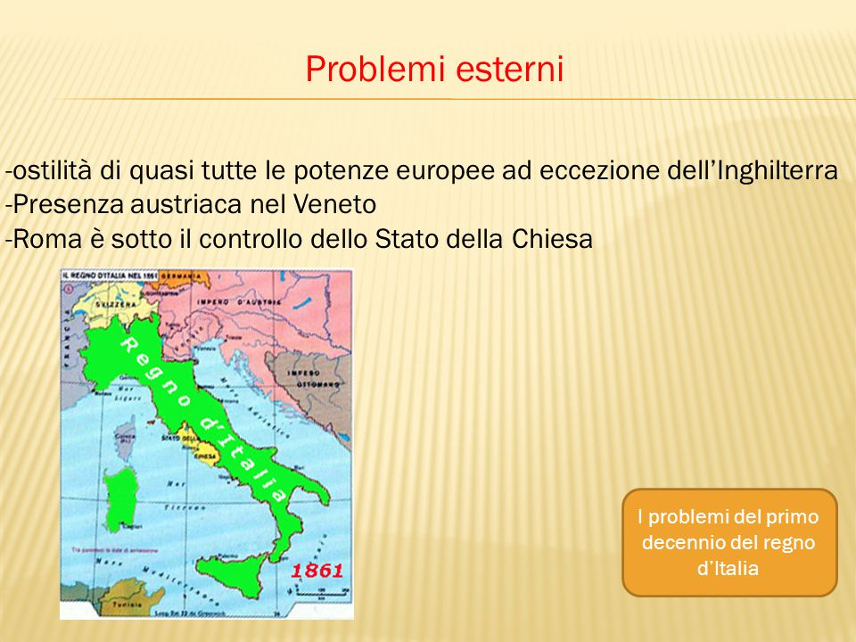 Problemi esterni -ostilità di quasi tutte le potenze europee ad eccezione dell'Inghilterra -Presenza austriaca nel Veneto -Roma è sotto il controllo dello Stato della Chiesa I problemi del primo decennio del regno d'Italia
