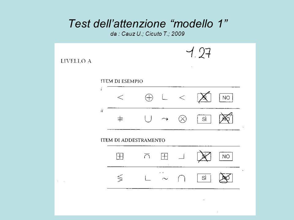 Test dell'attenzione modello 1 da : Cauz U.; Cicuto T.; 2009