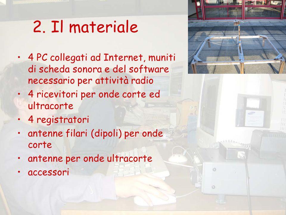 2. Il materiale 4 PC collegati ad Internet, muniti di scheda sonora e del software necessario per attività radio 4 ricevitori per onde corte ed ultrac
